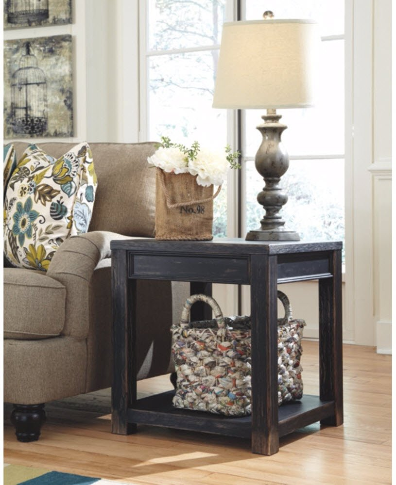 Ashley Furniture Signature Design - Gavelston End Table - Square - Rubbed Black Finish