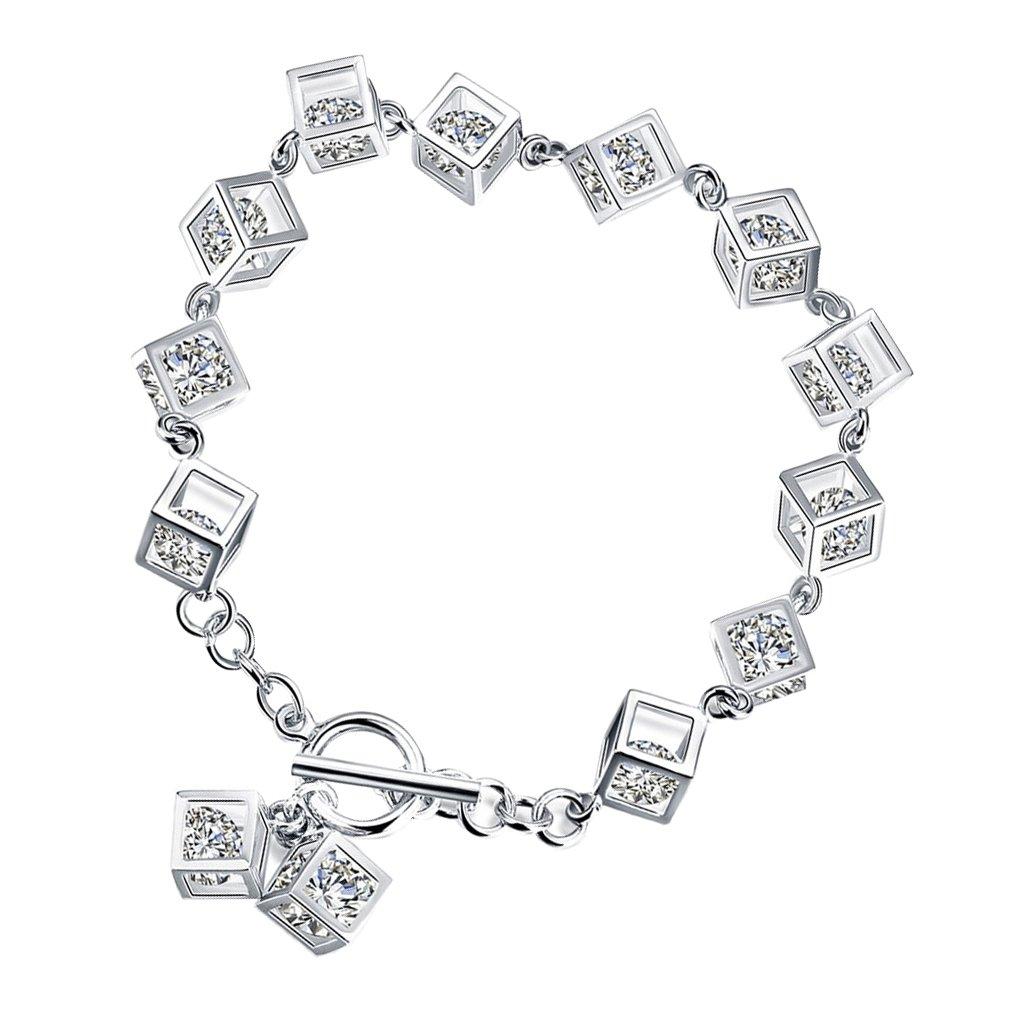 MonkeyJack Shiny Cubic Geometry Zircon CZ Bracelet Silver Metal Chain Bangle Wristband Bridal Charms Jewelry