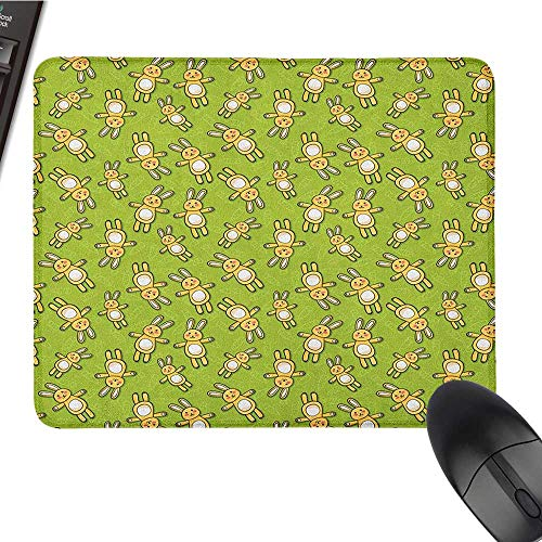 (Funny Mouse pad Anime,Kids Toy Rabbits Pattern on a Green Background with Doodle Carrots, Apple Green Yellow and White Comfortable Mousepad 15.7 x23.6 INCH)