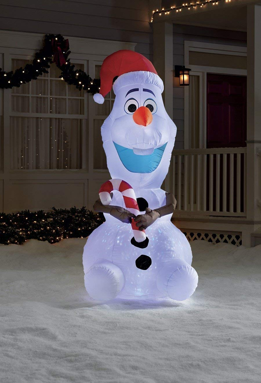 HUGE 8ft Projection swirling light FROZEN OLAF inflatable
