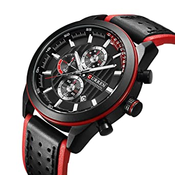 Mens Military Sport Watches Mens Quartz Multi-Function Wristwatch Reloj Hombre Leather Strap Date