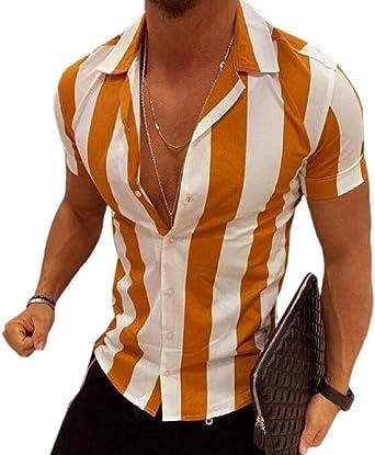 RRINSINS Men Luxury Print Casual Short Sleeves Shirts Slim Button Down Dress Shirt