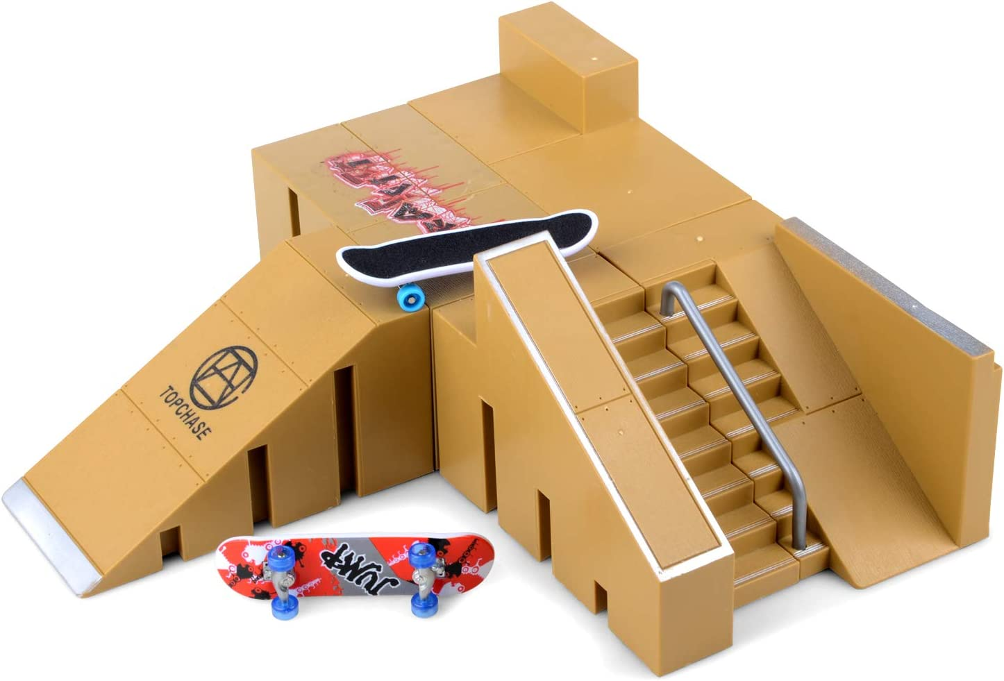 Skate Park Kit, Hometall 5PCS Skate Park Kit Ramp Parts for Finger Skateboard Ultimate Parks Training Props (5PCS)