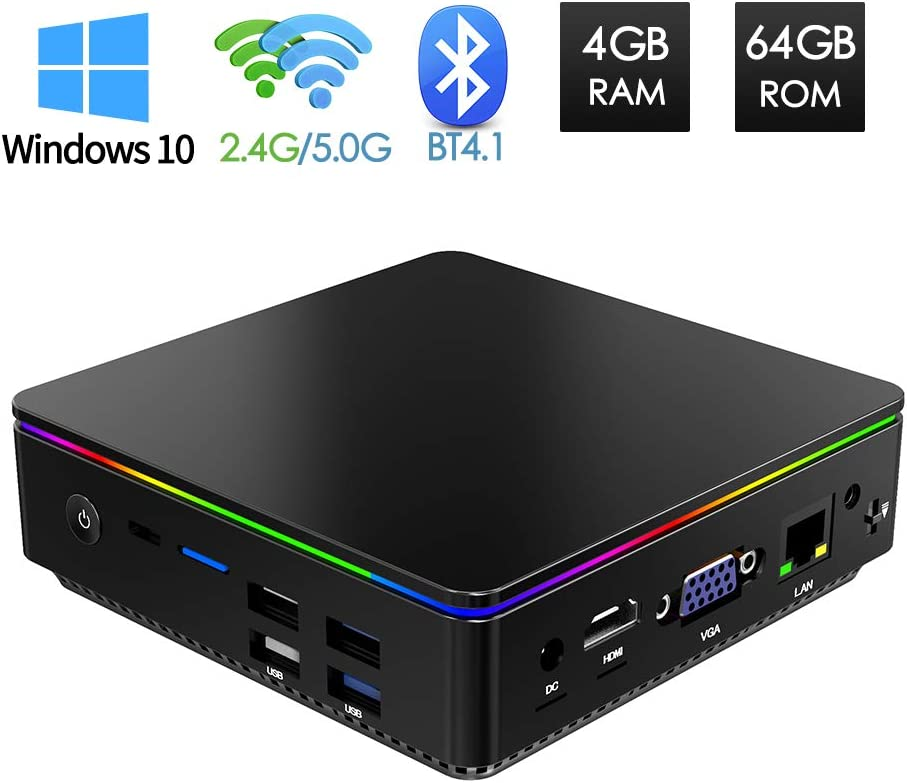 Mini PC 4GB/64GB, Mini Ordenador Windows 10 Intel Z8350 Procesador, Sobremesa PC HDMI y VGA Salida Doble, Banda Dual Wi-Fi, Bluetooth 4.1, 4K, 1000 Mbps LAN Micro computadora de Escritorio