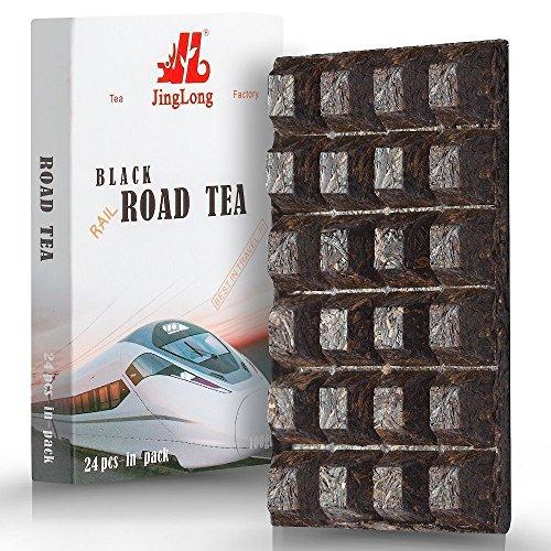 Black Tea Loose Leaf (48 cups) formed in a Chocolate Bar Shape – Easy Tea of 24 Portions - Chinese Dianhong Tea Brick - Yunnan Black Breakfast Tea - Fermented Tea Dian Hong 100 gram /3.6 ounce - Chocolate Fruit Flowers