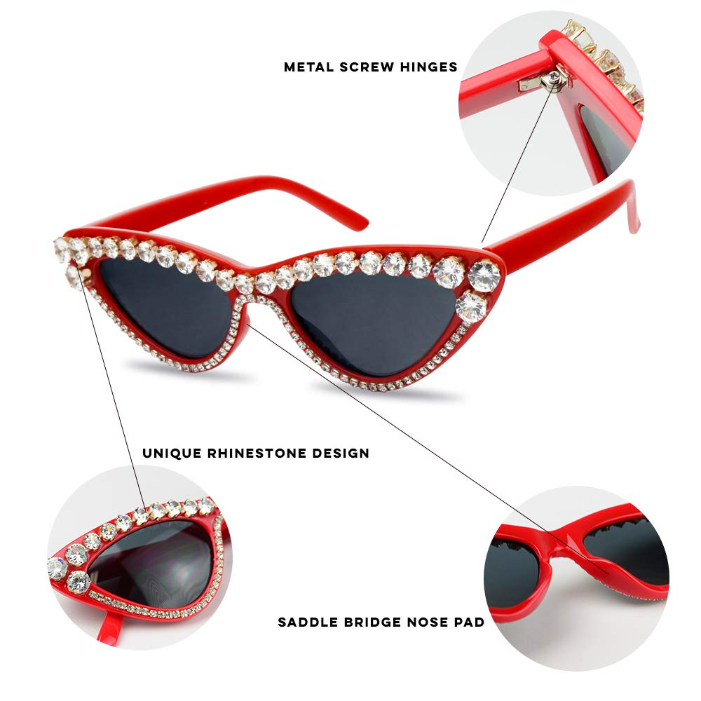Amazon.com: SunglassUP Retro Vintage Lolita Cat Eye Clout Goggle Style Tinted Lens Sunglasses (Black Frame (Rhinestone)   Black): Clothing