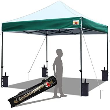 ABCCANOPY Pop up Canopy Tent Commercial Instant Shelter with Wheeled Carry Bag, Bonus 4 Canopy Sand Bags, 10x10 FT (Edge Forest Green)