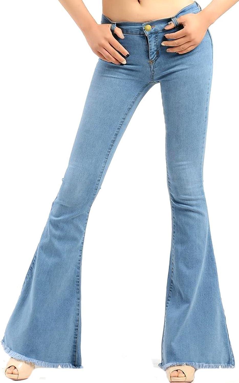 Vska Women Fashion Skinny Flared Trousers Slim Fit Casual Jeans