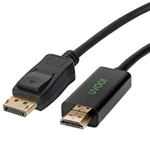DisplayPort to HDMI HDTV Cable 3 feet, Display Port DP to HDMI Cable Male to Male Adapter 1080P Support Video and Audio - Gold-Plated