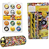 Emoji Pencil case, Stationary and Novelty Eraser Set
