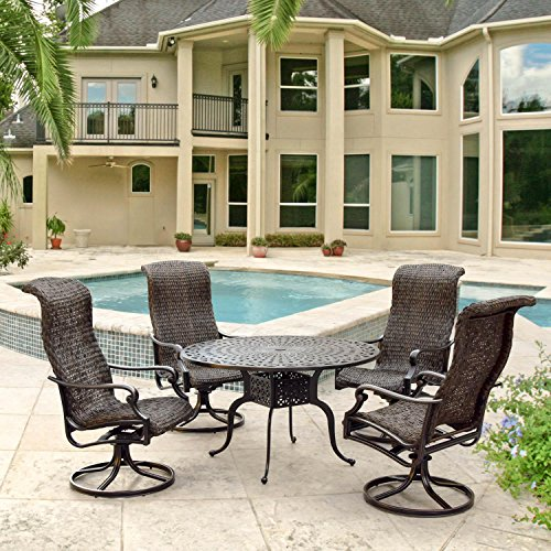 Lakeview Outdoor Designs Du Monde 5 Piece Banana Leaf Wicker Patio Dining Set W/48-inch Round Dining Table & Swivel Rockers By (Chair Rocker Banana)