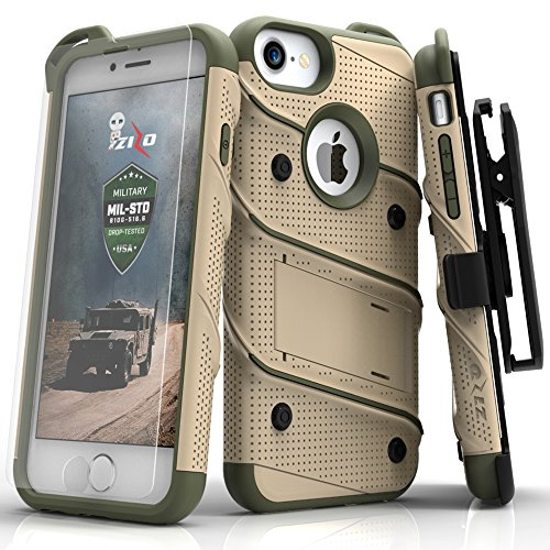 iPhone 8 Case/iPhone 7 Case by Zizo [Bolt Series] w/ [iPhone 8 Screen Protector ] Kickstand [12 ft. Military Grade Drop Tested] Holster Belt Clip (Tan Belt Holster)