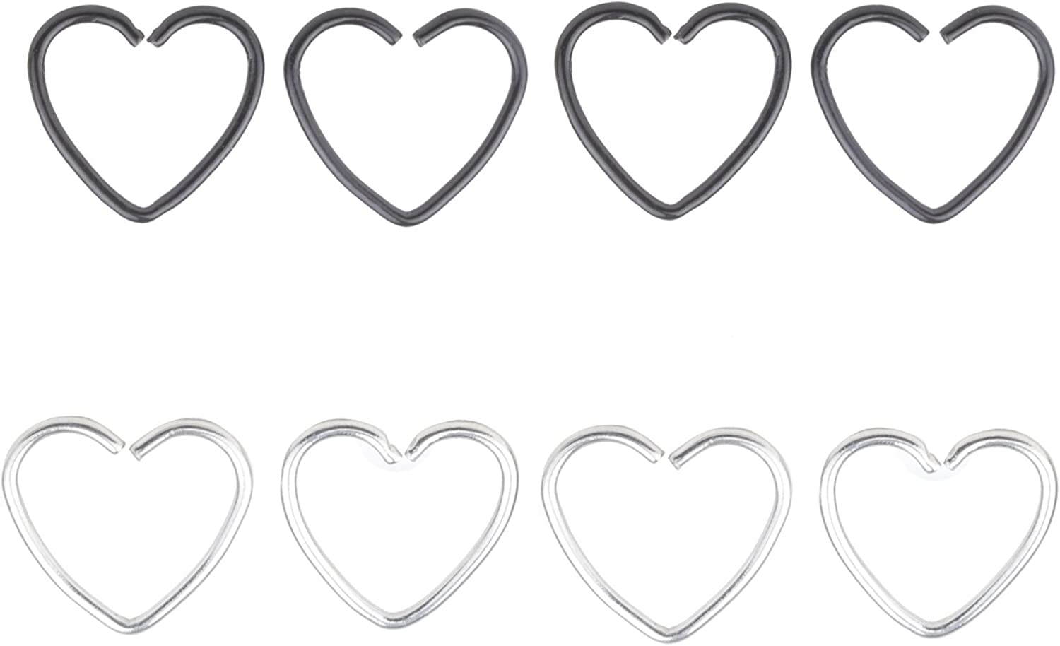 20G Heart Ear Nose Piercing Helix Cartilage Tragus Earring Stud Hoop Ring 8mm Surgical Stainless