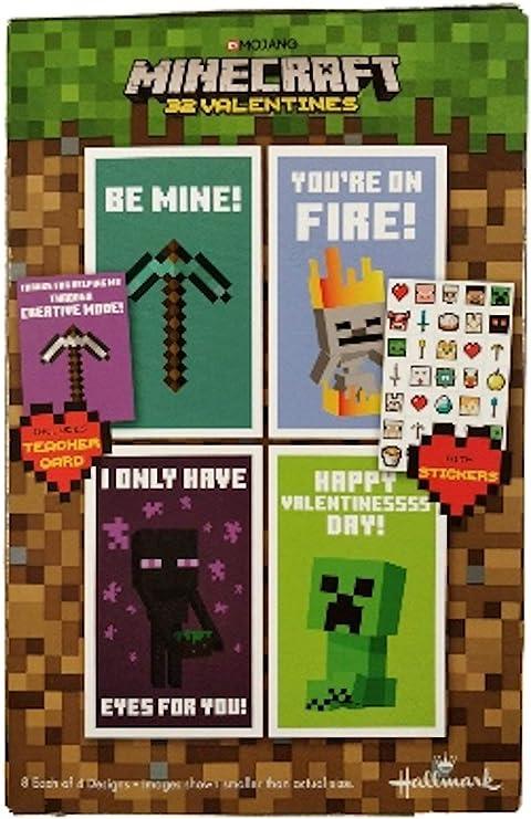 Amazon.com: Minecraft 32 tarjetas de San Valentín con ...