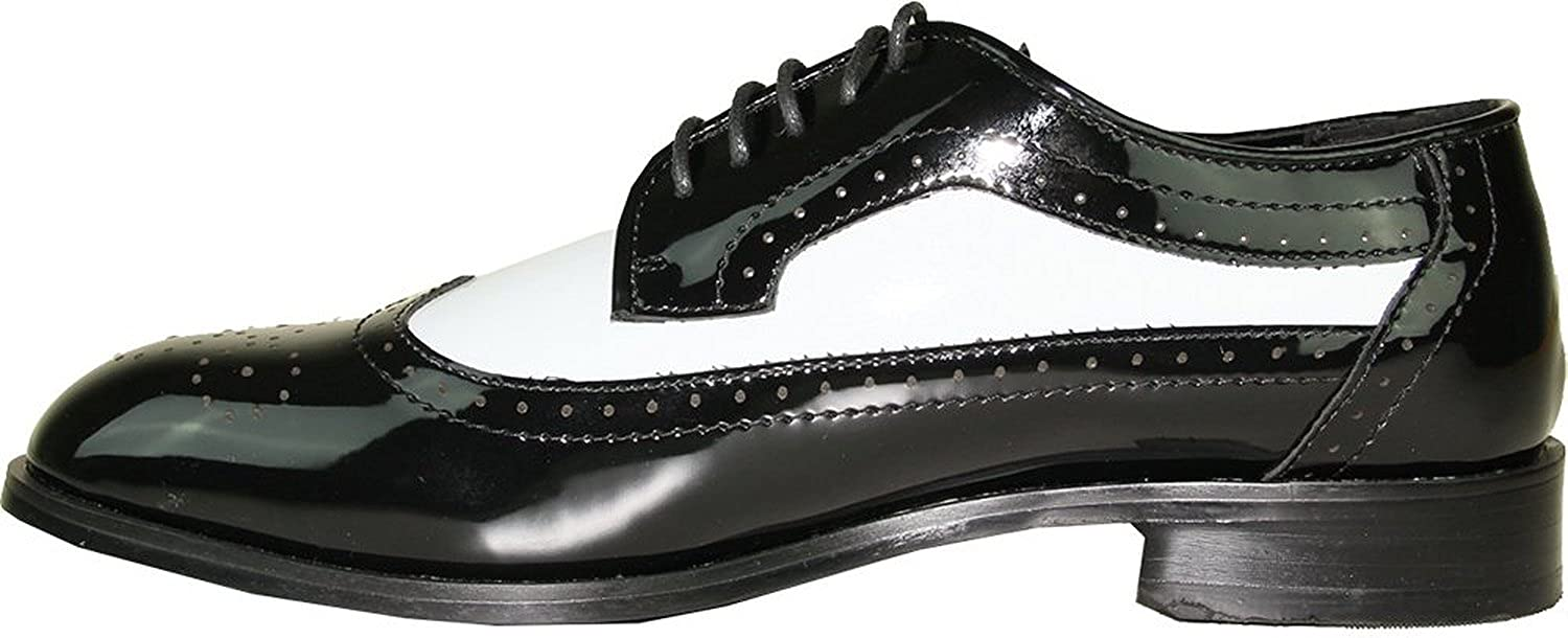 Jean YVES Dress Shoe JY03 Wing Tip Two-Tone Tuxedo for Wedding Prom and Formal Event