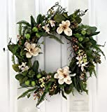 Southern Hospitality Berry And Magnolia Wreath Silk Flower Wreath