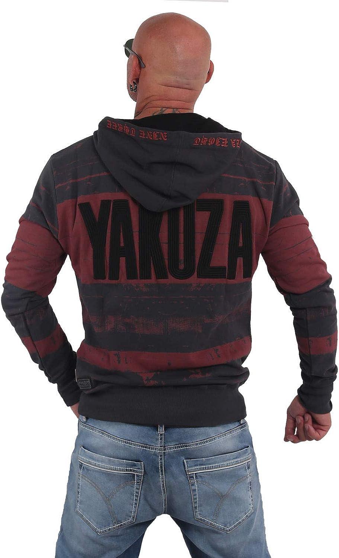 Yakuza Herren Stripes Hoodie Kapuzenpullover Dark Shadow