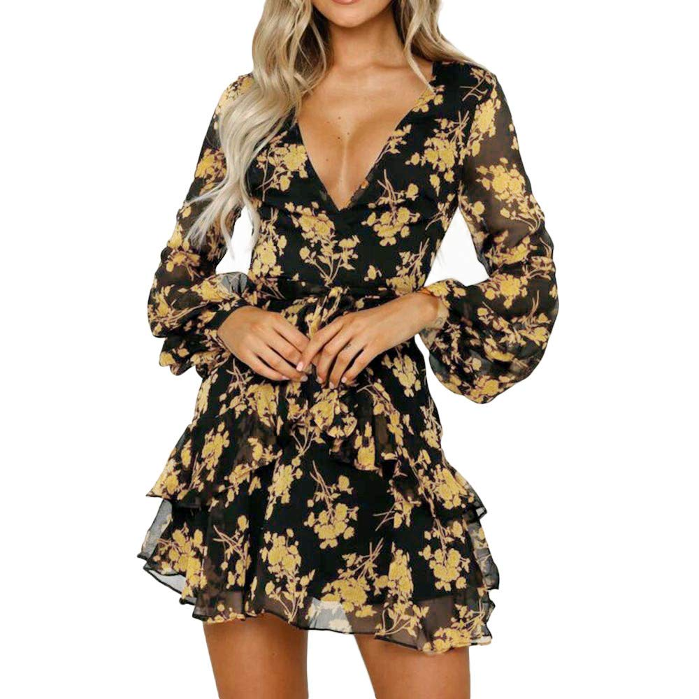 JESPER Womens Floral Leaf Printed Long Sleeve Dress Summer Beach Casual Mini Dress Yellow