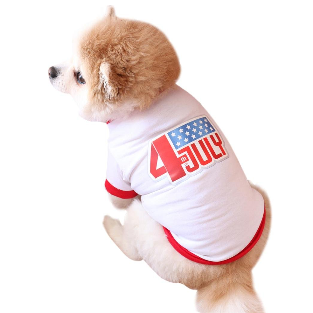 Pet Shirt Small Dog Clothes USA Flag Jacquard Pet Summer Costume 4th of July (XS, White)