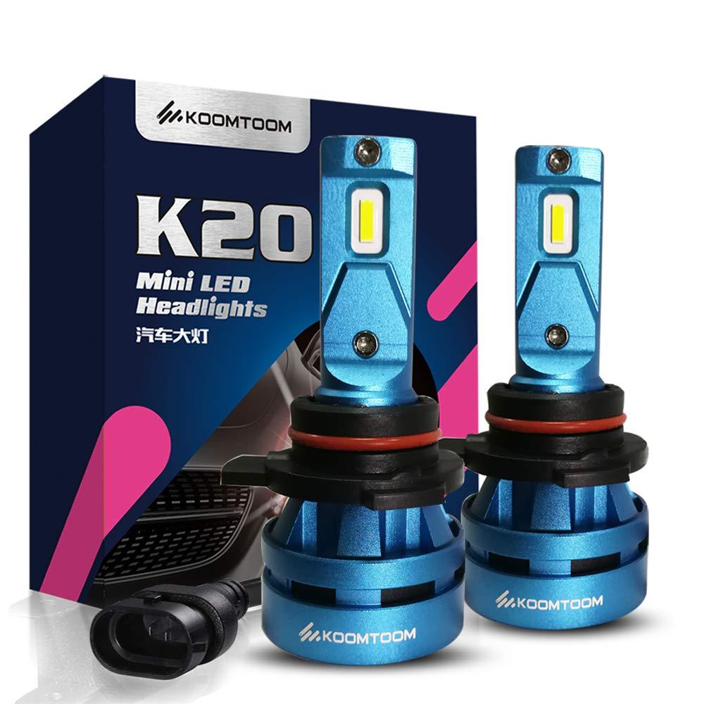 KOOMTOOM Mini Bombillas Led 9012 HIR2 Kits de conversión de la bombilla de la linterna LED 5000K CREE Chip 360 grados Patrón de haz ajustable 8000Lm 55W 1 ...