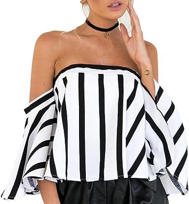 Blusa de Rayas Negra y Blanca de Mujer Fuera del Hombro Cuello Manga Superior Camisa de Manga Corta Casual para Mujer Flare Sleeve Camisetas Xinantime: Amazon.es: Ropa y accesorios