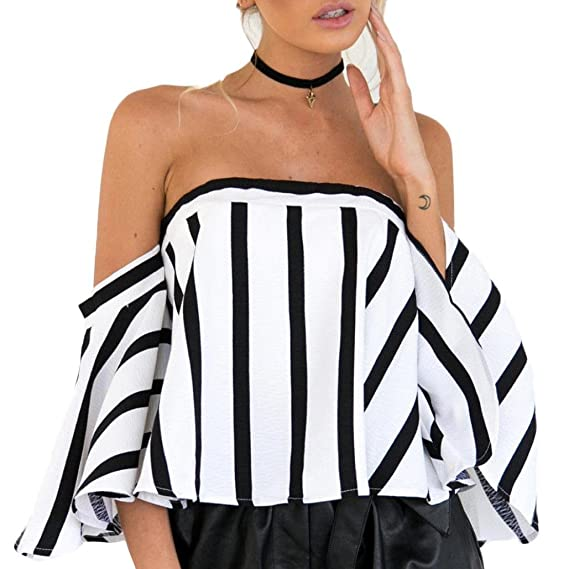 Blusa de Rayas Negra y Blanca de Mujer Fuera del Hombro Cuello Manga Superior Camisa de Manga Corta Casual Para Mujer Flare Sleeve Camisetas ♡Xinantime♡: ...