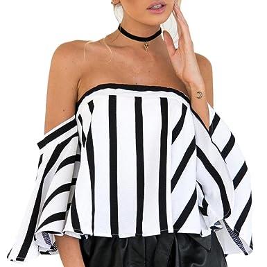 Blusa de Rayas Negra y Blanca de Mujer Fuera del Hombro Cuello Manga Superior Camisa de Manga Corta Casual para Mujer Flare Sleeve Camisetas Xinantime
