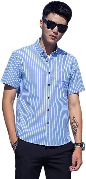 Idopy Camisa de algodón para Hombre Slim Fit Manga Corta ...