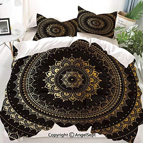 Homenon Gold Decor Duvet Cover Set Full Size, Asian Flora Cosmos Universe Themed Circles Artwork,Decorative 3 Piece Bedding Set with 1 Pillow Shams