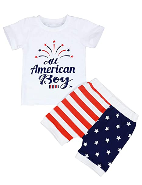Independence Day Baby Boy Outfits Summer American Flag Pants American Boy Letter Print Tops 4th Of July Clothing Set