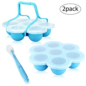 RUCKAE Silicone Egg Bites Molds for Instant Pot Accessories(2 Pack),Fits Instant Pot 5,6,8 qt Pressure Cooker,Blue, with Silicone Handles