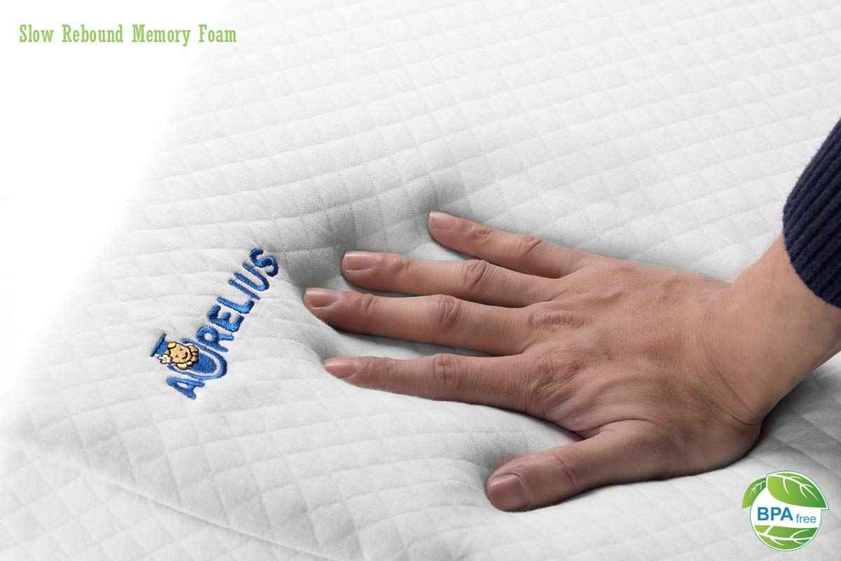12Degree,Light Blue Color Aurelius Baby Sleep Pillow Wedge Reflux Pillow Bed Wedge Anti Reflux and Colic Congestion with Memory Foam Fit for Universal Bed//Pram//Crib//Cot//Bassinet//Mattress,26/×13/×3
