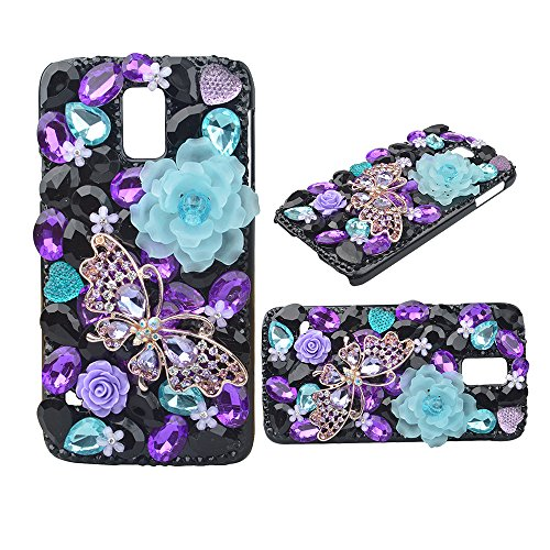KAKA(TM) Galaxy S5 Mini case,Fashion Purple Butterfly Pattern 3D Handmade Rhinestone Bling Crystal Pearl Flower Black Case Cover Hard Case for Samsung…