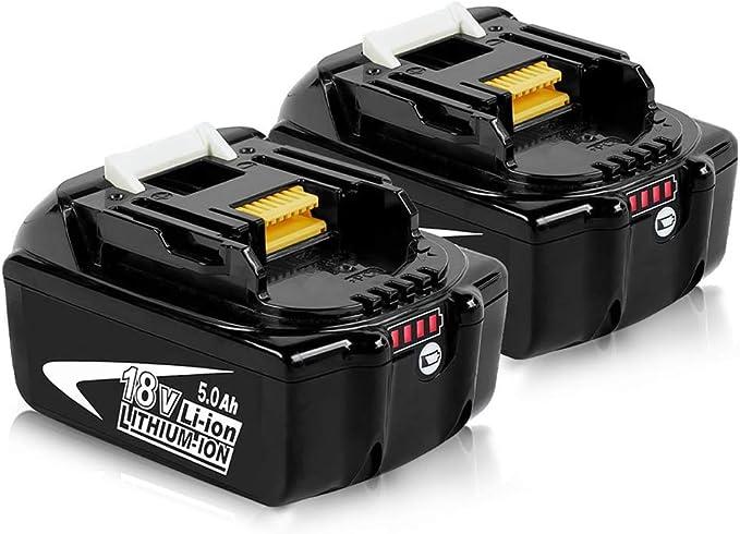 Imagen de2X Reoben 18V 5,0Ah BL1850B batería para Makita BL1850 BL1850B BL1840 BL1830 BL1835 BL1845 BL1845 LXT-400 Herramientas eléctricas inalámbricas con indicador