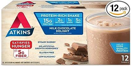 Amazon Com Atkins Gluten Free Protein Rich Shake Milk Chocolate Delight Keto Friendly 12 Count Health Personal Care