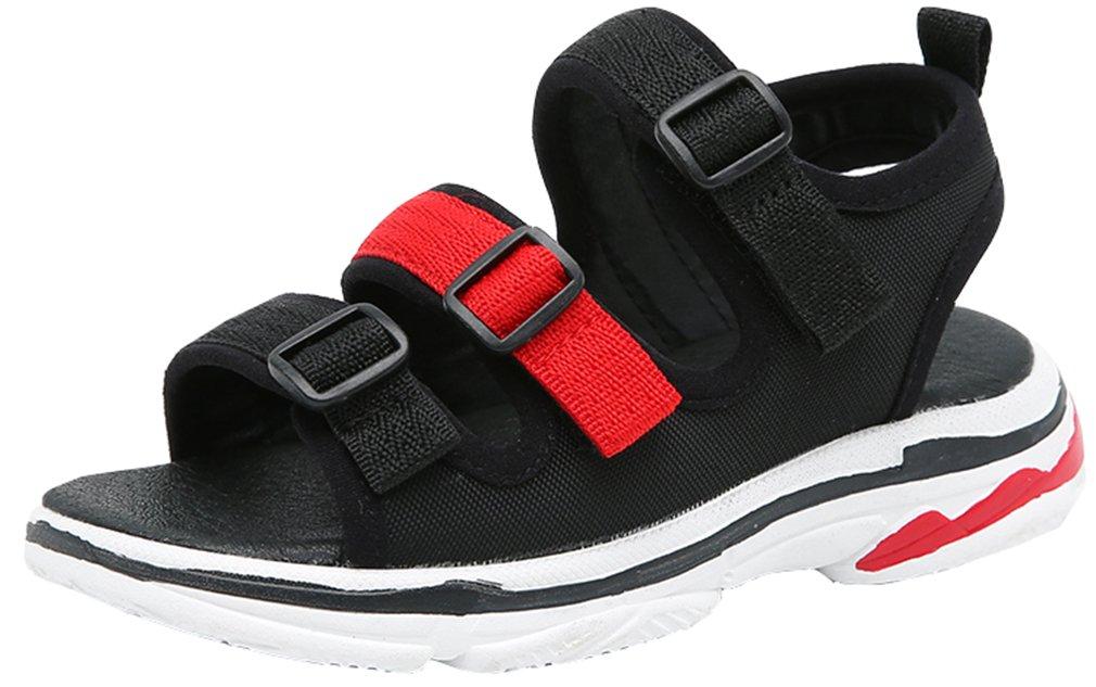 VECJUNIA Boy's Girl's Outdoor Sandals Two-Strap Open Toe Platform Beach Sandals Shoes (Black, 10.5 M US Little Kid)
