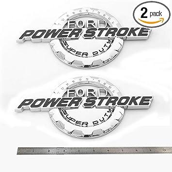 2x OEM Red 6.0L POWER STROKE SUPER DUTY Side Fender Emblems Badge Powerstroke 3D logo replacement for F250 F350 Sanucaraofo