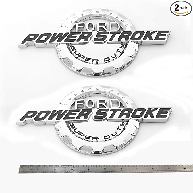 2x OEM Chrome 7.3L POWER STROKE International Fender Emblems F Ford F250 F350