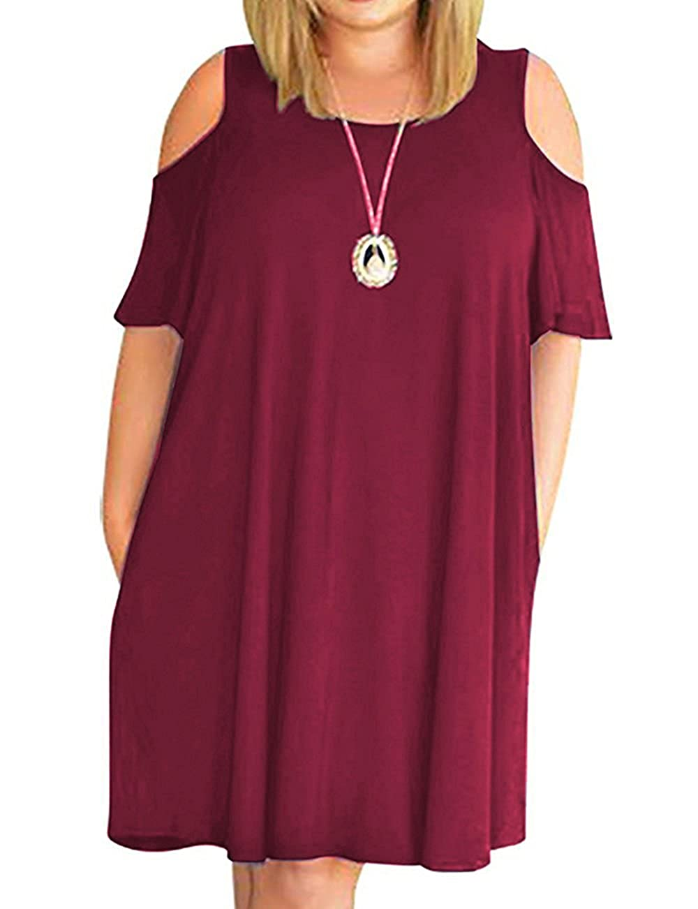 9491165d0ae Women plus size dress short sleeve cold shoulder t shirt dress casual swing  dress with pockets. Feature  Round neck
