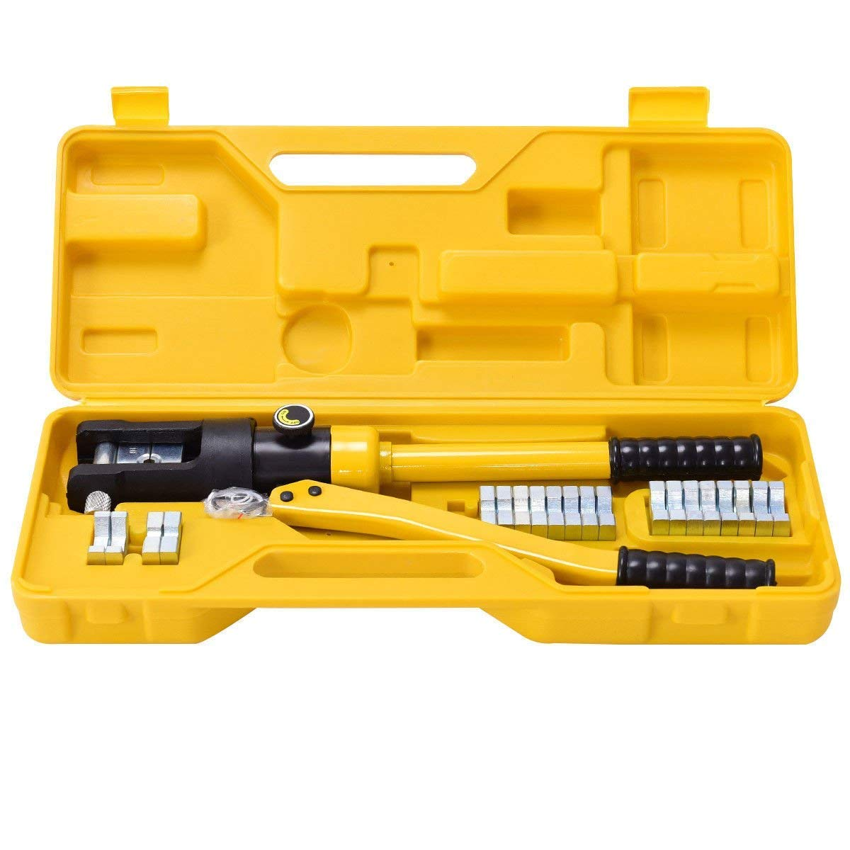 GOFLAME 16 Ton Hydraulic Wire Professional Hydraulic Battery Cable Lug Crimping Tool Set w/11 Dies