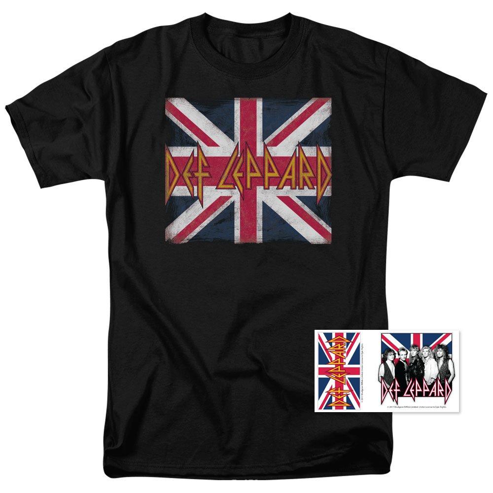 Def Leppard Logo Union Jack 80s Rock T Shirt (Large)