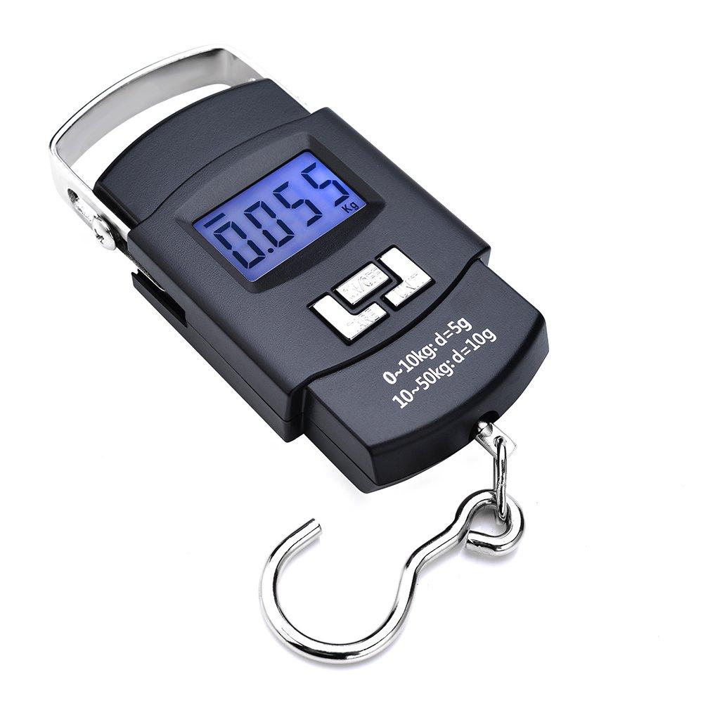 Yizhet Báscula Digital de Equipaje con Gancho 50kg/110lbs de Precisión Balanza Electrónico para Maletas Equipaje de Viaje Báscula, Cocina, Pesca y ...