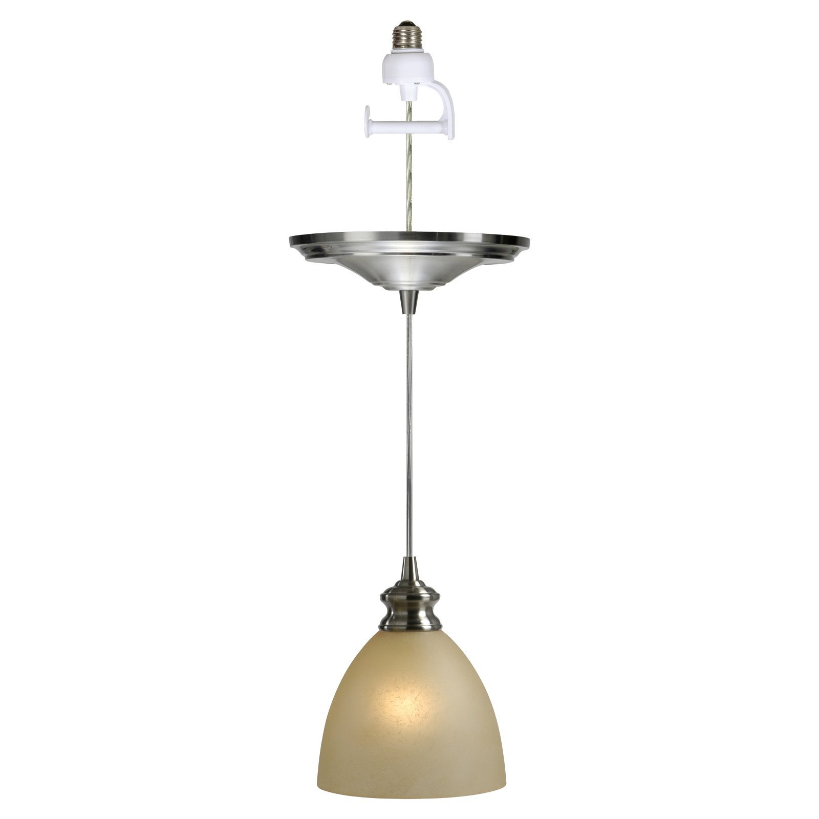Worth Home Products Instant Screw in Pendant Light with Parchment Glass Shade