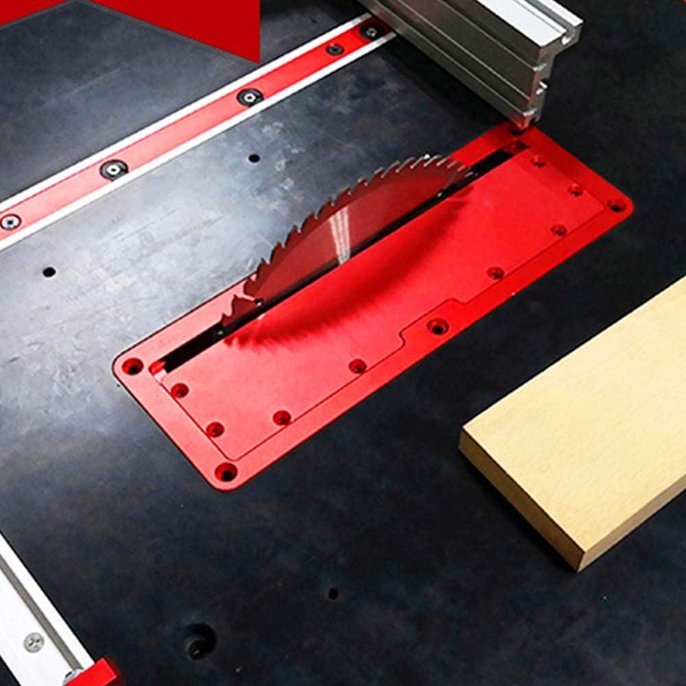 Placa de cubierta de sierra circular eléctrica, placa de inserción de placa de aluminio ajustable para sierra de mesa