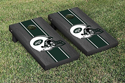 Victory Tailgate NFL New York Jets Onyx Stained Stripe Version Football Cornhole Game Set 24 x 48 Multicolor [並行輸入品]