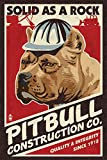 Pitbull - Retro Construction Company Ad (9x12 Art Print, Wall Decor Travel Poster)