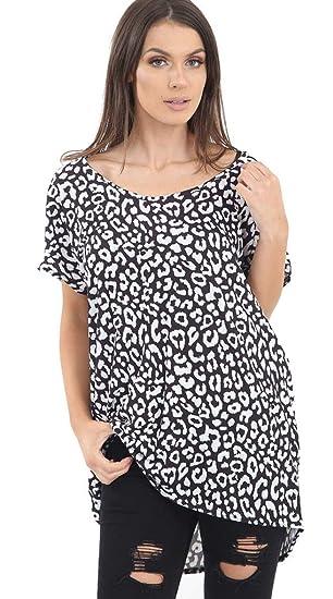 Aramoniat - Camisas - Animal Print - Manga Corta - para Mujer Blanco Leopardo De Nieve