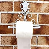 Toilet Paper Holder Wall Mounted Vintage Iron Wrought Towel Roll Hanger Tissue Dispenser Rack Stand for Kitchen and Bathroom (21 * 10 * 18cm,white)