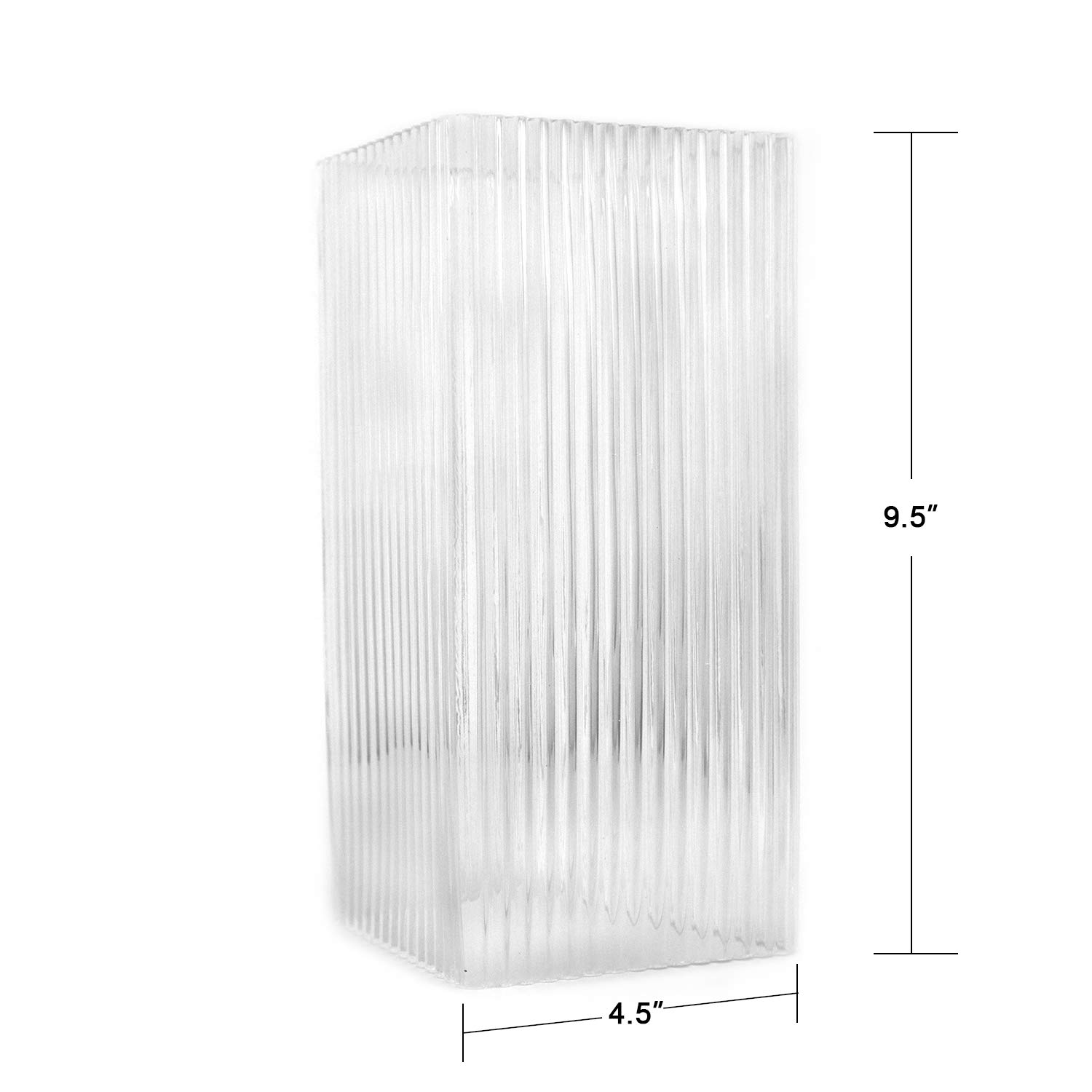 2377-GLASS 1 Pack Osimir Glass Spare Parts Clear Ribbed Glass Lampshade Glass Replacement for Model 2377//1WL-2PK and 2377//1GL