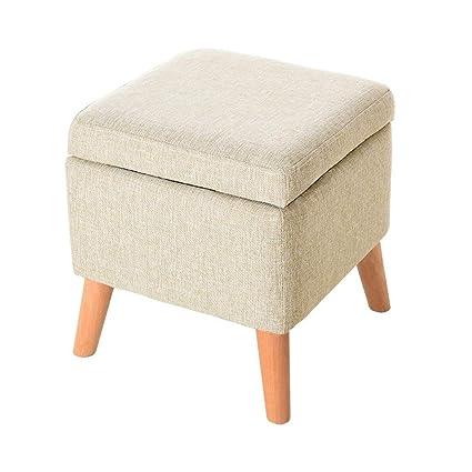 Amazon.com: GRJXMD Solid Wood Poffee Fabric Storage Stool Ottoman ...